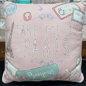 Paris Bonjour Beaded Pink Pastels Pillow